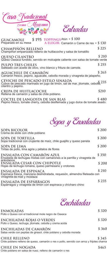 Menu español Mita